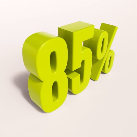 per: 3d render: green 85 percent, percentage discount sign on white, 85%