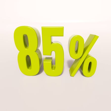 half cent: 3d render: green 85 percent, percentage discount sign on white, 85%