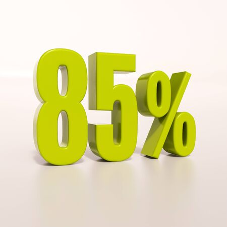 3d render: green 85 percent, percentage discount sign on white, 85%