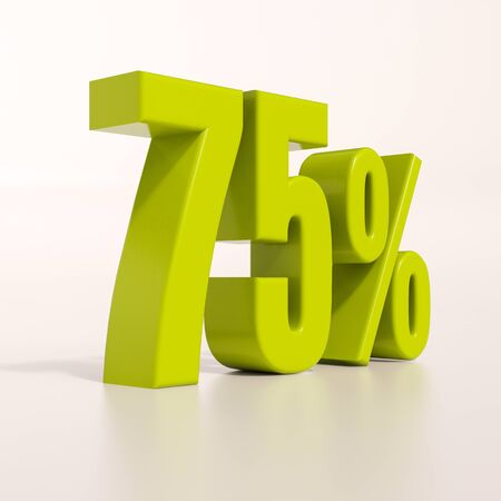 percent: 3d render: green 75 percent, percentage discount sign on white, 75% Stock Photo