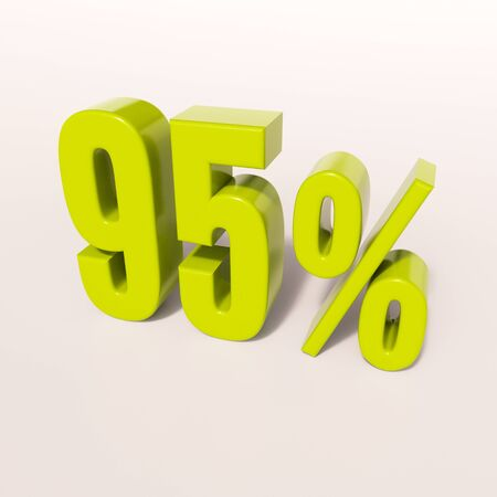 95: 3d render: green 95 percent, percentage discount sign on white, 95%