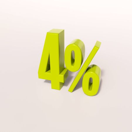 percent: 3d render: green 4 percent, percentage discount sign on white, 4% Stock Photo