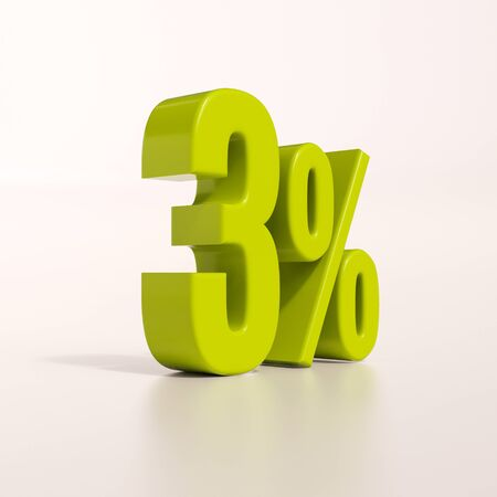 3d render: green 3 percent, percentage discount sign on white, 3% Stock Photo