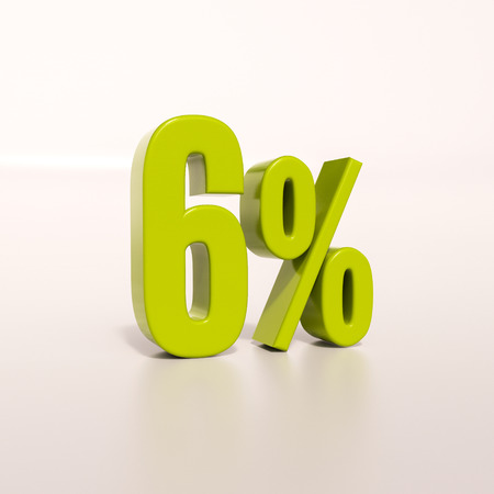 six objects: 3d render: green 6 percent, percentage discount sign on white, 6%