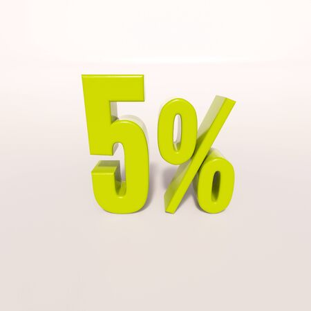 num: 3d render: green 5 percent, percentage discount sign on white, 5%