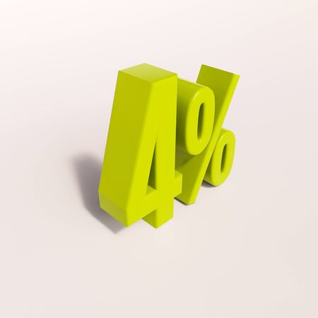 3d render: green 4 percent, percentage discount sign on white, 4% Stock Photo