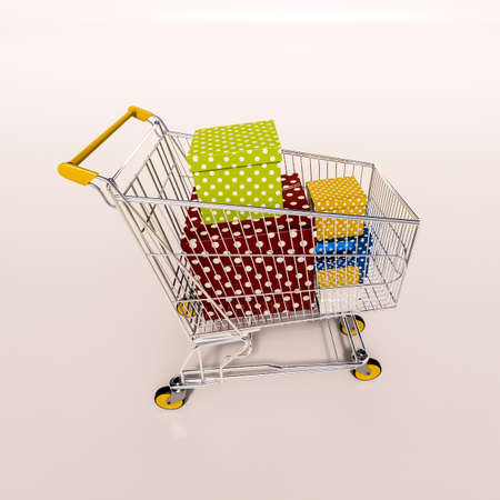 sho: 3d render: shopping cart full of boxes, gift buying