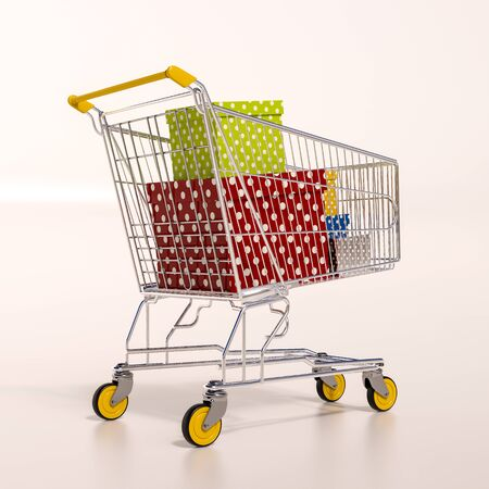 sho: 3d render: shopping cart full of boxes, gift buying