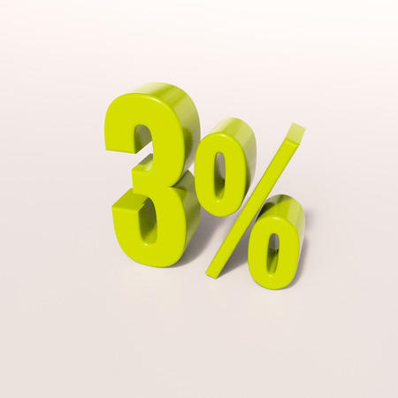 percent: 3d render: green 3 percent, percentage discount sign on white, 3% Stock Photo