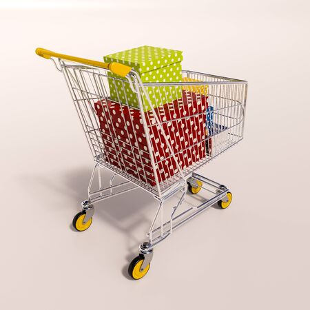 3d render: shopping cart full of boxes, gift buying