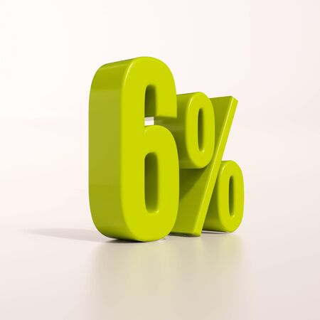 percent: 3d render: green 6 percent, percentage discount sign on white, 6%