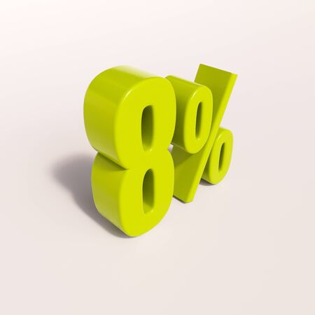 figure of eight: 3d render: green 8 percent, percentage discount sign on white, 8%