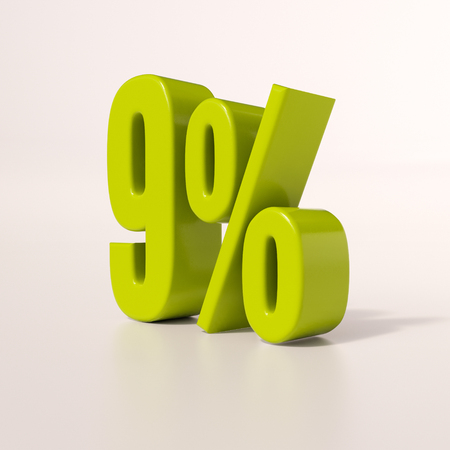 percent: 3d render: green 9 percent, percentage discount sign on white, 9%