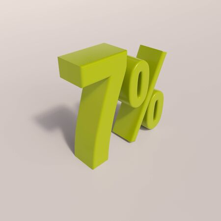 per: 3d render: green 7 percent, percentage discount sign on white, 7%