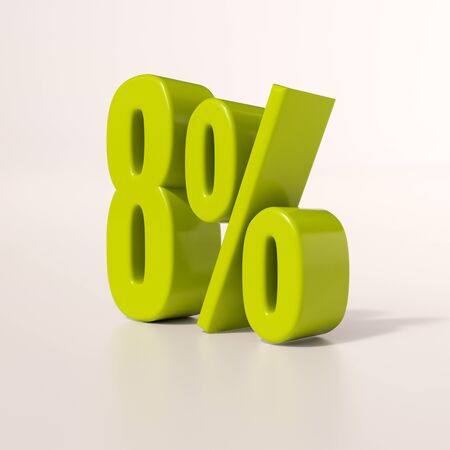 per: 3d render: green 8 percent, percentage discount sign on white, 8%