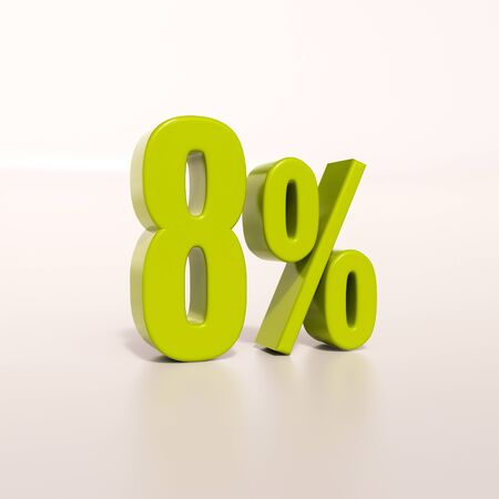 percent: 3d render: green 8 percent, percentage discount sign on white, 8%