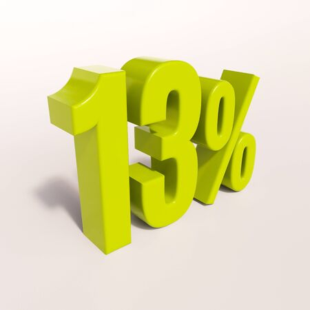 percent: 3d render: green 13 percent, percentage discount sign on white, 13%