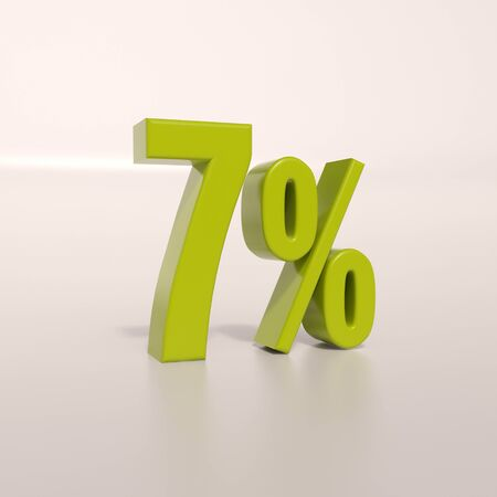 percent: 3d render: green 7 percent, percentage discount sign on white, 7%
