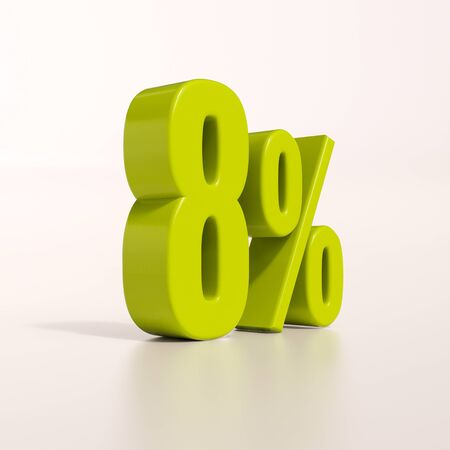 per cent: 3d render: green 8 percent, percentage discount sign on white, 8%