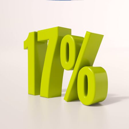 percent: 3d render: green 17 percent, percentage discount sign on white Stock Photo