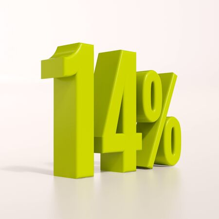 per cent: 3d render: green 14 percent, percentage discount sign on white, 14% Stock Photo