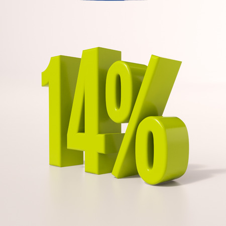 percent: 3d render: green 14 percent, percentage discount sign on white, 14% Stock Photo