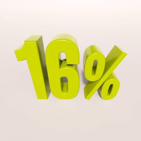 per cent: 3d render: green 16 percent, percentage discount sign on white, 16%