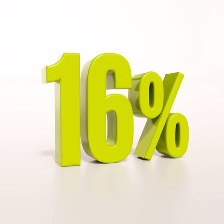 percent: 3d render: green 16 percent, percentage discount sign on white, 16%