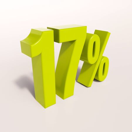 per: 3d render: green 17 percent, percentage discount sign on white, 17% Stock Photo