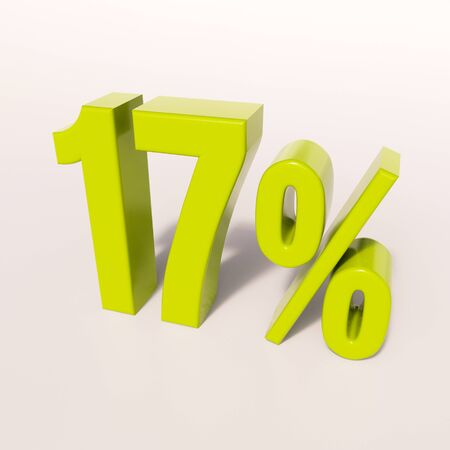 3d render: green 17 percent, percentage discount sign on white, 17% Stock Photo