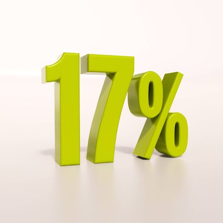 17: 3d render: green 17 percent, percentage discount sign on white, 17% Stock Photo