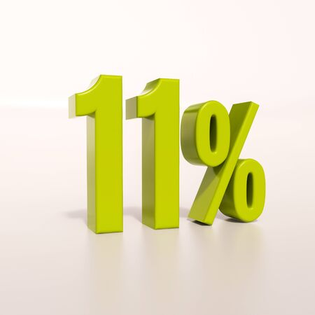 11 number: 3d render: green 11 percent, percentage discount sign on white, 11%