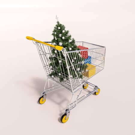 sho: 3d render: Christmas shopping cart full of boxes, gift buying