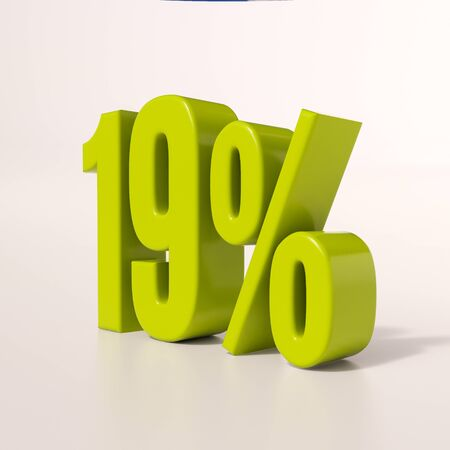 per cent: 3d render: green 19 percent, percentage discount sign on white, 19%