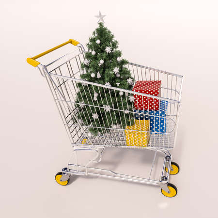 super market: 3d render: Christmas shopping cart full of boxes, gift buying