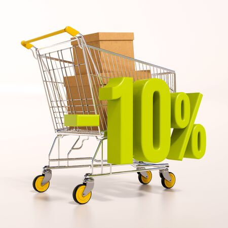 3d render: shopping cart and green 10 percentage discount sign on white, sale 10% Stock Photo