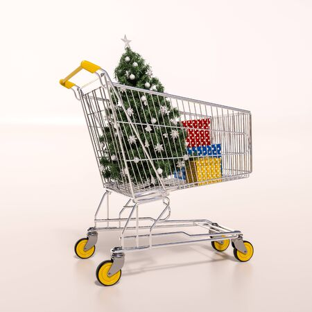 pushcart: 3d render: Christmas shopping cart full of boxes, gift buying