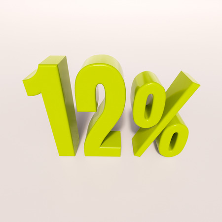 a 12: 3d render: green 12 percent, percentage discount sign on white, 12%