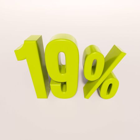 percent: 3d render: green 19 percent, percentage discount sign on white, 19%