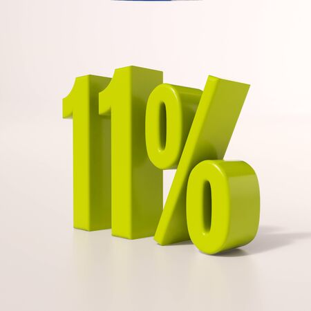 11: 3d render: green 11 percent, percentage discount sign on white, 11%