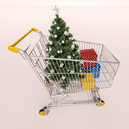 sho: 3d render: Christmas shopping cart full of boxes, gift buying