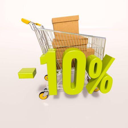 carretilla de mano: 3d render: shopping cart and green 10 percentage discount sign on white, sale 10% Foto de archivo