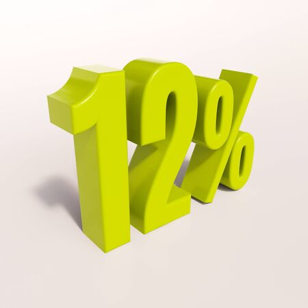 percent: 3d render: green 12 percent, percentage discount sign on white, 12%