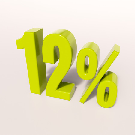 12: 3d render: green 12 percent, percentage discount sign on white, 12%
