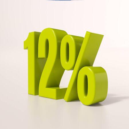 number twelve: 3d render: green 12 percent, percentage discount sign on white, 12%