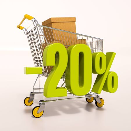 3d render: shopping cart and green 20 percentage discount sign on white, sale 20% Stock Photo