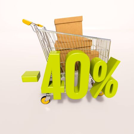 3d render: shopping cart and green 40 percentage discount sign on white Stock Photo