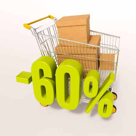 super market: 3d render: shopping cart and green 60 percentage discount sign on white Stock Photo