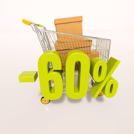 per: 3d render: shopping cart and green 60 percentage discount sign on white Stock Photo