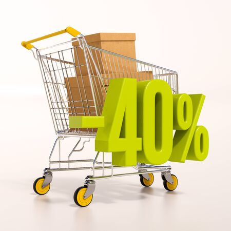 per cent: 3d render: shopping cart and green 40 percentage discount sign on white Stock Photo